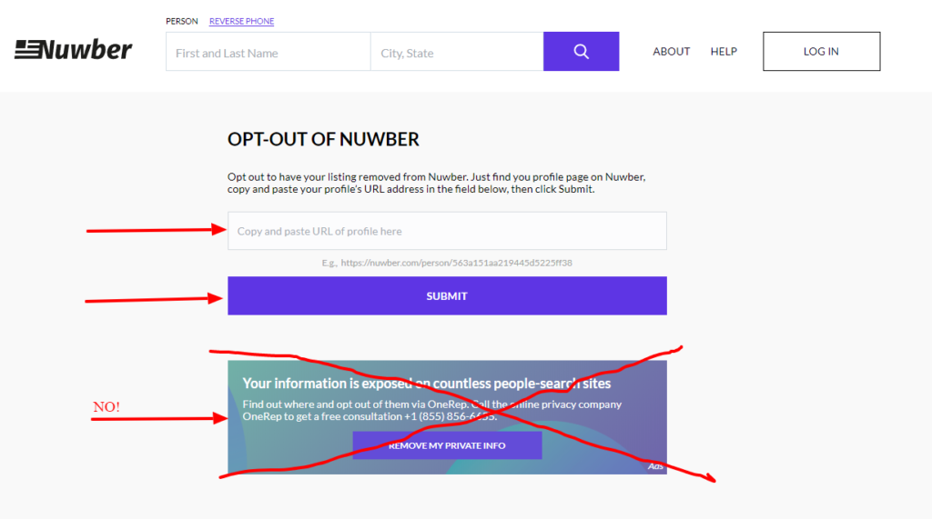 how to get your information off of nuwber